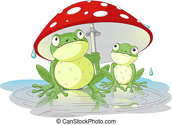 Frogs - Two frogs wearing rain gear under  mushroom