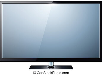 TV isolated - TV, modern flat screen lcd, led, isolated