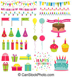 Happy Birthday and Party Set - for design and scrapbook - in...