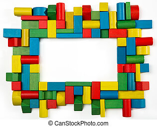 Toys blocks frame, multicolor wooden building bricks, group...