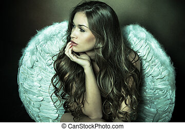 angel woman - beautiful angel woman with white wings