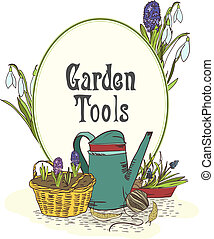 Hand drawn gardening tools emblem with watering can green...