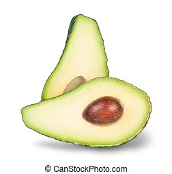 Green Sliced A?avocado With Bone Isolated On White...