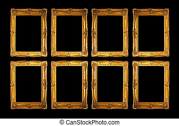 Eight frames in gold isolated on black