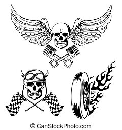 Motorcycle bike labels set with skull flames and flag vector...
