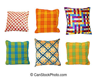 Pillows squares - Six colorful decorative pillows isolated...