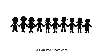 best friends forever silhouette - group of children holding...