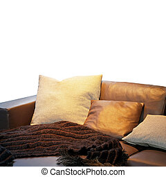 Settee pillows - Bunch of pillows and blanket at leather...