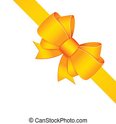 Yellow decorative bow with ribbon isolated vector...