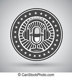 Retro microphone and headphones emblem - Decorative retro...