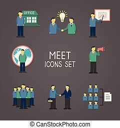 Collection of flat business people meeting infographics...