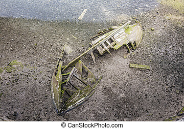 old wooden ship wreck at the lagoon - old wooden ship wreck...