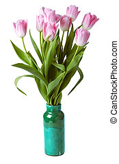 pink tulips in gree vase isolated on a white background -...