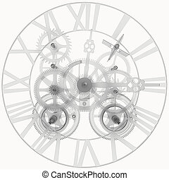 Transparent clock mechanism Isolated render on a white...