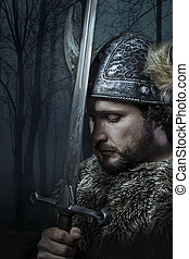 Peace, Viking warrior, male dressed in Barbarian style with...