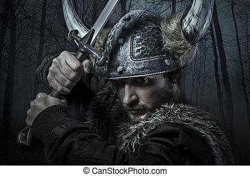 viking, guerreira, macho, vestido, Bárbaro, estilo,...