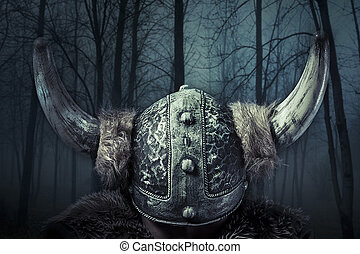 Helmet, Viking warrior, male dressed in Barbarian style with...