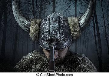 paz, viking, estilo, vestido, barbudo, Bárbaro, espada,...