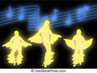 Dancers moving in disco attire against a backdrop of glowing...