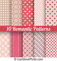 Romantic vector seamless patterns tiling, with swatch - 10...