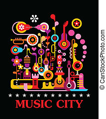 Music City - Abstract art vector composition on black...