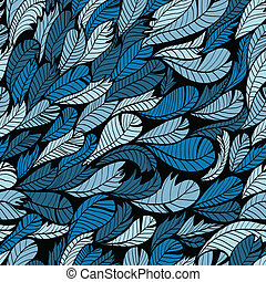 Hand drawn pattern with feather