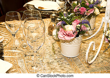 Wedding Flowers - Wedding Table flower arrangement with pink...