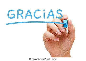 Gracias Blue Marker - Hand writing Gracias with blue marker...