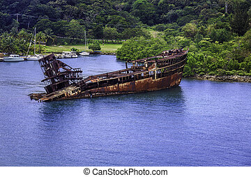 Rusted Ship - Rusted ship, that sank and has now become part...