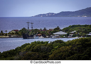 Pirate Ship in Port - Old Pirate Ship Replica in port. Photo...