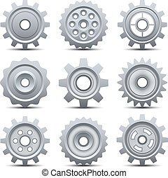 Gears - Vector illustration of gears isolated on white.
