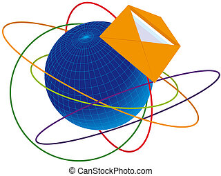 Post envelope on a background of communications and planets...