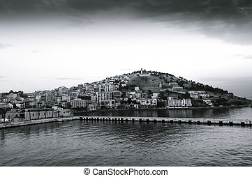 scenic view of Kusadasi city on early morning on Turkey...
