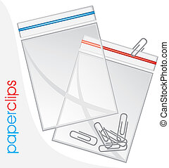 Paperclips in plastic bag isolated on the white. Vector...
