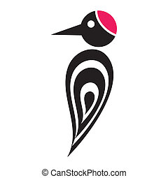 Woodpecker - Black vector stylized woodpecker icon with red...