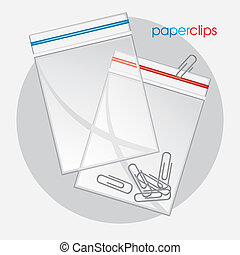 Paperclips in plastic bag. Vector illustration