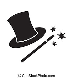 Magic wand and hat isolated on white background
