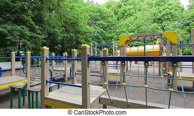 Playground, long obstacle course, steady smooth motion