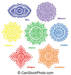 Set of 7 chakras - Isolated Set of beautiful ornamental 7...