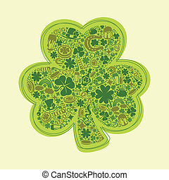 St Patrick's Days card of green objects on white background
