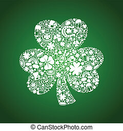 St Patrick's Days card of white objects on green background