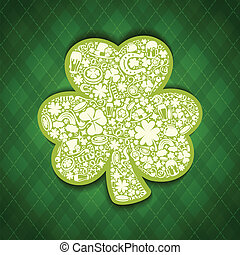 St Patricks Days card of white objects on irish pattern...