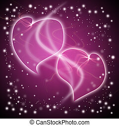 two hearts on the background with stars