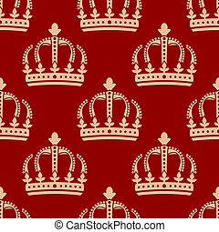 Seamless pattern of crowns on a red background