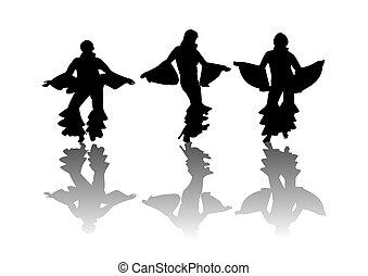 Mama Mia Dancers - Dancers moving in disco attire...