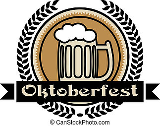 Oktoberfest beer icon or label with a pint of frothy lager...