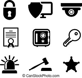 Safety and security icons set