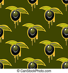 Repeat background seamless pattern of fresh olives