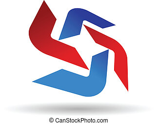 Abstract symbol of red and blue boomerang shapes arranged in...