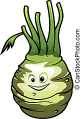 Healthy fresh cartoon kohlrabi vegetable - Healthy fresh...